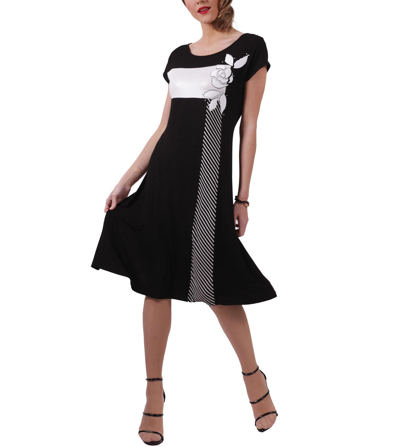 12a259975eae Αέρινο ασπρόμαυρο φόρεμα