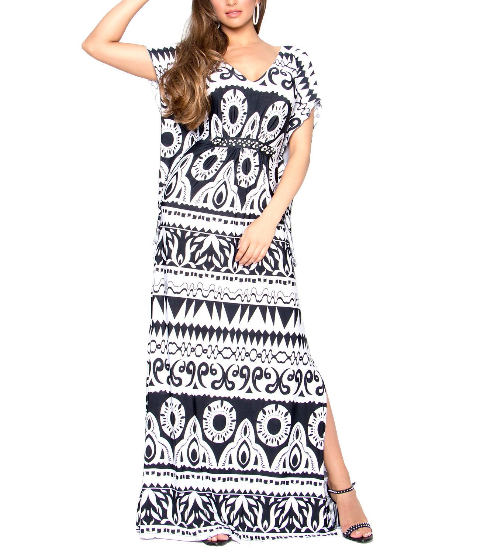 36d9949581a4 Ασπρόμαυρο φόρεμα με μοτίβα