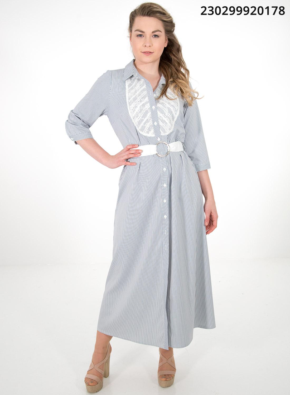 Ριγέ φόρεμα με ζώνη