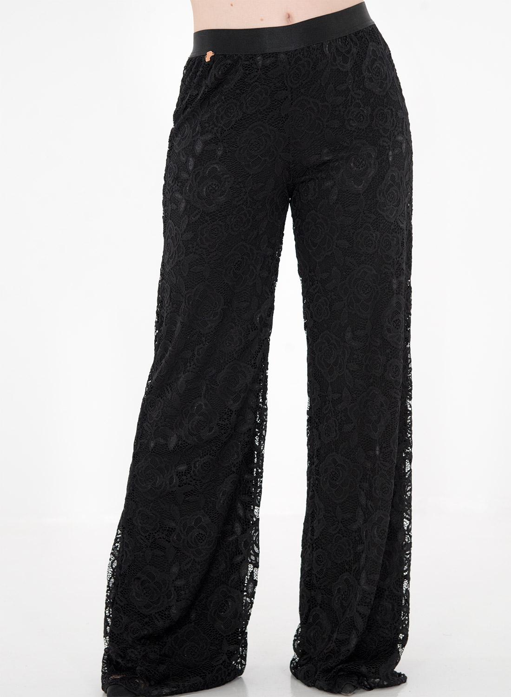 Μαύρη δαντελένια παντελόνα με λάστιχο