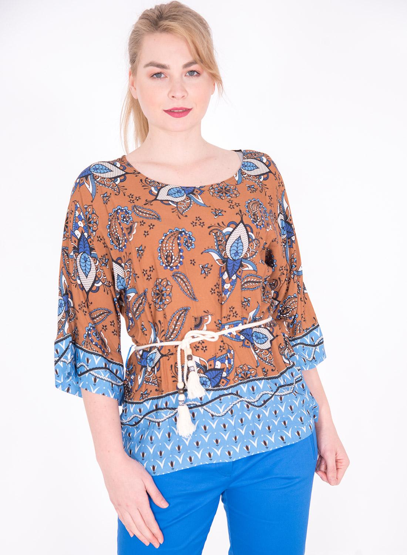 Εμπριμέ μπλούζα με λαχούρια
