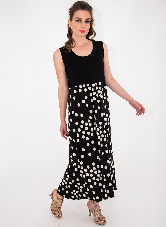 Μαύρο μακρύ πουά φόρεμα