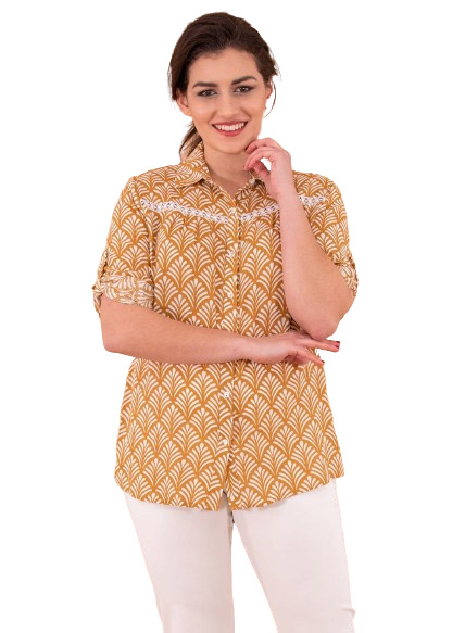 Βαμβακερό πουκάμισο με κέντημα