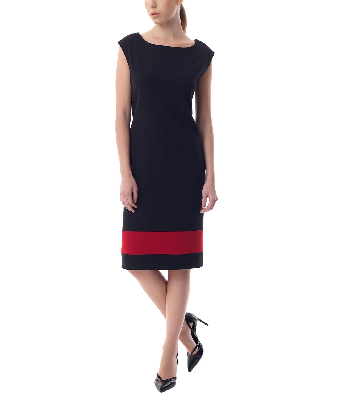 Crepe αμάνικο φόρεμα σε ίσια γραμμή